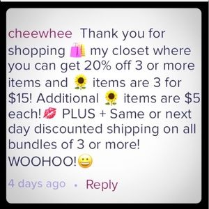 20% off Bundles of 3 or more! 3 🌻Irma for $15 EUC